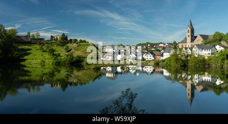 Panorama of the volcanic Ulmener Maar, Eifel, Rhineland-Palatinate - Stock Photo