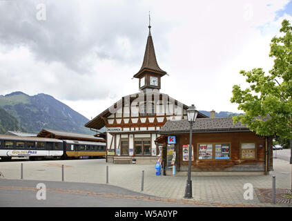Railway station in Zweisimmen. Canton of Bern. Switzerland. - Stock Photo