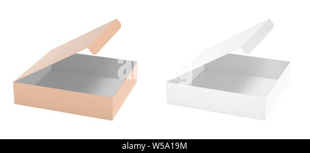 Flat paper box. Set of open cartons. 3d rendering illustration isolated on white background - Stock Photo