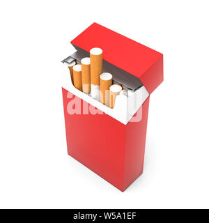 Red open pack of cigarettes. 3d rendering illustration isolated on white background - Stock Photo