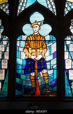 Detail from stained glass window commemorating soldiers who died in the First World War - Church of the Holy Rude, old town of Stirling, Scotland, UK - Stock Photo