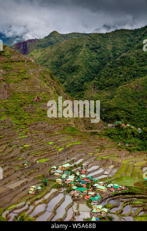A View Of The Village Of Batad and Surrounding Rice Terraces, Banaue Area, Luzon, The Philippines - Stock Photo