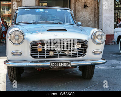 Rome,Italy - July 20, 2019: On occasion of  Rome capital city Rally event, an exhibition of vintage cars has been set up with the beutiful car model L - Stock Photo