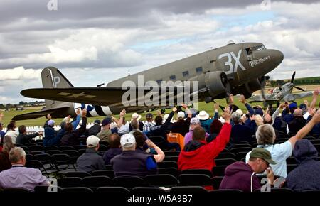 Aero Legends C-47A 'N473DC' taxiing past spectators at the 2019 Flying Legends Airshow - Stock Photo