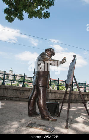 Around Budapest - Ignac Roskovics Statue - On the banks of the River Danube - Stock Photo