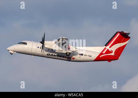 QantasLink (Eastern Australia Airlines) de Havilland Canada Dash 8 twin engine turboprop regional airliner aircra - Stock Photo