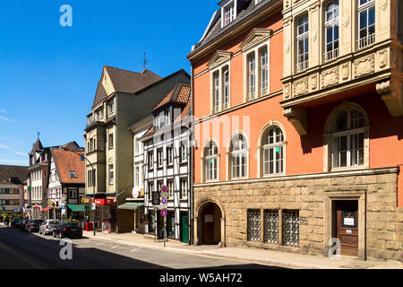 on the right the old town hall at the market square in the district Werden, houses on the Brueckstreet, Essen, Ruhr Area, Germany.  rechts das Alte Ra - Stock Photo