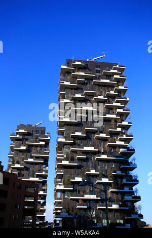 "Milan, Italy– January 24, 2015:   ""Bosco Verticale"" (Vertical Wood) in Porta Nuova district, near Garibaldi railway station in Milan. In the last ten - Stock Photo"