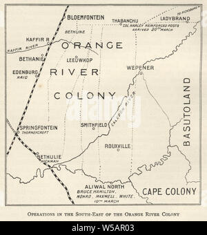Map from the Second Boer War, operations in the south east of the Orange River Colony 1901 - Stock Photo
