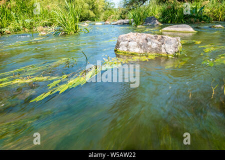 A small rapid at the middle of Tikich river with stone boulders. Buky Canyon, Ukraine