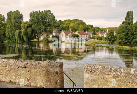 Riverside village in the Haute-Vienne in Limousin France, with the river Vienne passing a quaint village - Stock Photo