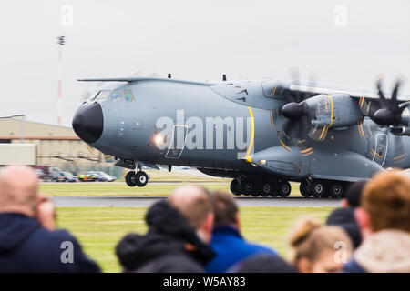 Airbus A400M Atlas captured at the 2019 Royal International Air Tattoo at RAF Fairford. - Stock Photo