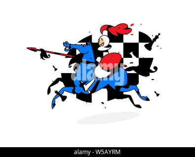 Chess character, pawn on horseback. Vector illustration. Image is isolated on white background. Character in the cartoon style. Pawn on horseback with - Stock Photo
