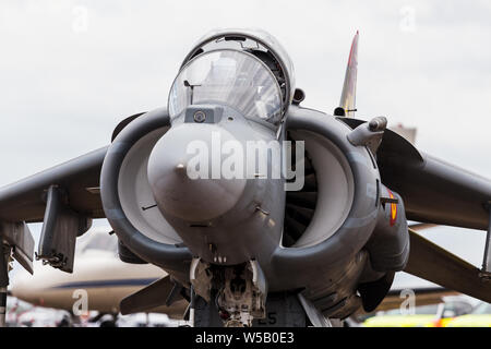 Spanish Navy EAV-8B Harrier II Plus captured at the 2019 Royal International Air Tattoo at RAF Fairford. - Stock Photo