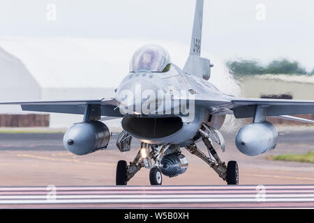 Royal Netherlands Air Force F-16AM/BM captured at the 2019 Royal International Air Tattoo at RAF Fairford. - Stock Photo