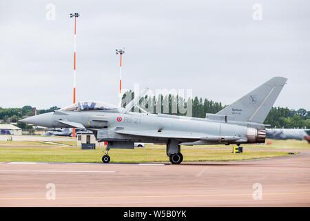 Italian Air Force F-2000 Typhoon captured at the 2019 Royal International Air Tattoo at RAF Fairford. - Stock Photo