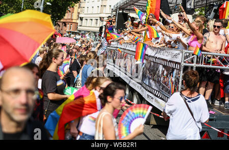Stuttgart, Germany. 27th July, 2019. Participants of the Christopher Street Day (CSD) parade will be marching through downtown Stuttgart. The political parade stands for the rights of gays, lesbians, bisexuals and transgender people under the motto 'Courage to Freedom'. Credit: Christoph Schmidt/dpa/Alamy Live News - Stock Photo
