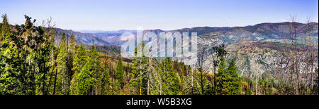 Panoramic view of areas of Yosemite National Park and Mariposa County, California, damaged by Ferguson Fire in the summer of 2018 - Stock Photo