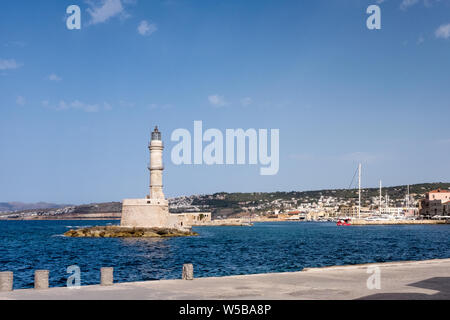 Lighthouse at the harbour in Chania, Crete - Stock Photo