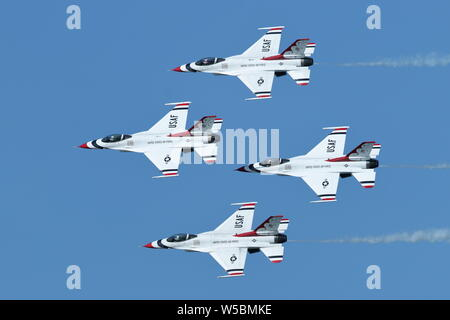 Air Force Thunderbirds four-ship Diamond formation in their F16C's at the Great Pacific Airshow in Huntington Beach, California on October 19, 2018 - Stock Photo