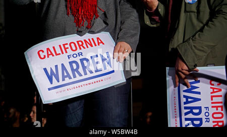 Elizabeth Warren for United States President rally, Oakland, California on May 31, 2019.  Close up of 'California for Warren' signs. - Stock Photo