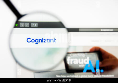Richmond, Virginia, USA - 27 July 2019: Illustrative Editorial of Cognizant Technology Solutions Corporation website homepage. Cognizant Technology So - Stock Photo