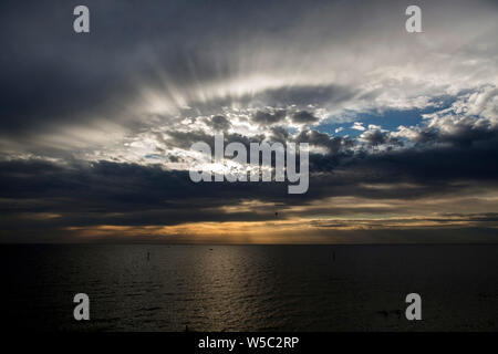 Melbourne Sunset over Port Philip Bay from Half Moon Bay Victoria Australia - Stock Photo