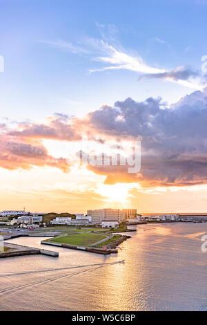 Sunset over the sea in Sumiyoshi-cho, Naha, Okinawa from the Loisir Hotel