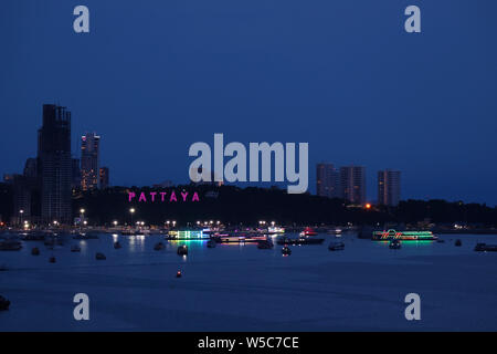 Impressive Aerial View of Light-up Pattaya Beach Coastline at Night, Pattaya City, Thailand