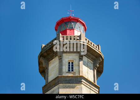 french 'phare des baleines' lighthouse top on 'Re' island France,blue sky background. - Stock Photo
