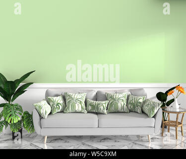 tropical design,armchair,plant,cabinet on granite floor and green background.3 d rendering - Stock Photo