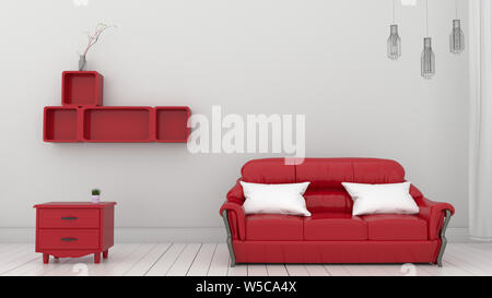 Interior with red sofa lamp on white wall background. 3d rendering - Stock Photo