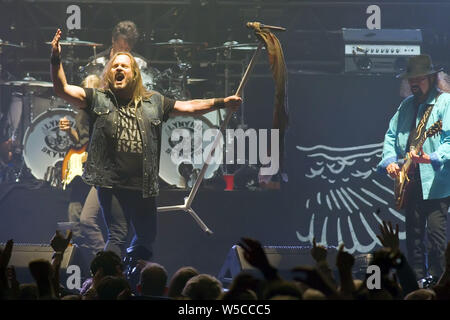 Lynyrd Skynyrd performing at the SSE Hydro, part of the Scottish Events Campus (SEC), in Glasgow. Featuring: Lynyrd Skynyrd, Johnny Van Zent Where: Glasgow, United Kingdom When: 26 Jun 2019 Credit: Peter Kaminski/WENN.com - Stock Photo