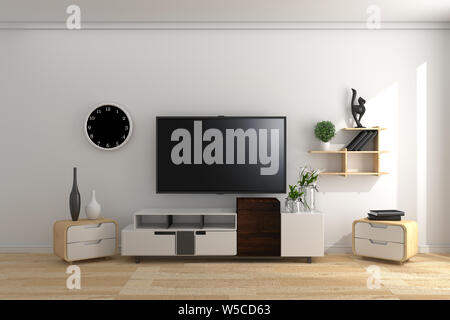 TV JAPAN - Smart Tv Mock-up on empty room, white wall in modern empty interior. 3d rendering