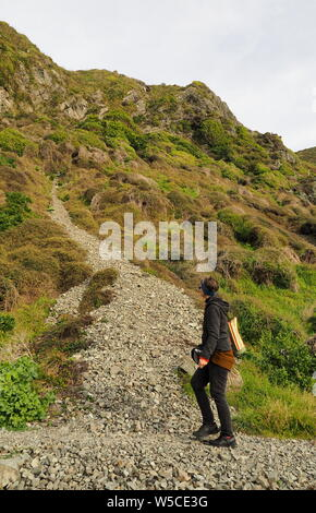 Rocky beachside track for walkers - Stock Photo