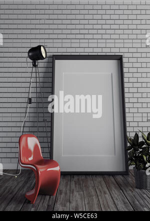 Frame and lamp on brick wall. 3D rendering - Stock Photo