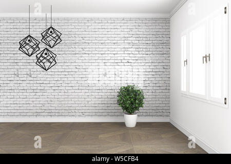 Loft room design, with lamp and plants on white windows in brick wall on wooden floor. 3D rendering - Stock Photo