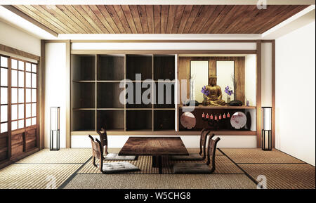 Japanese display Room interior, wooden flooring on light White background. 3D rendering - Stock Photo