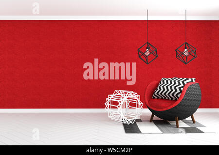 Living Room interior with velvet armchair on red wall background. 3D rendering - Stock Photo