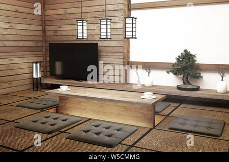 TV Japan - Smart TV on table in room Japanese style with lamp and bonsai tree. 3D rendering - Stock Photo