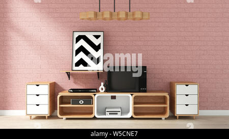 Cabinet Mockup on pink brick wall in japanese living room. 3d rendering
