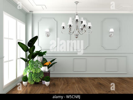 Interior living luxury classic style, decoration white wall on granite tiles, 3D rendering - Stock Photo