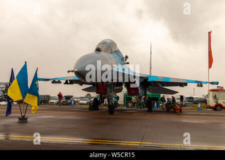 Sukhoi Su-27UB 'Flanker' on static display from the 831st TAB of the Ukrainian Air Force. - Stock Photo