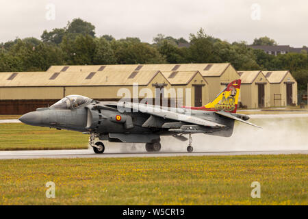Spanish Navy EAV-8B Harrier II Plus making a big spray on the wet runway at RAF Fairford for the 2019 RIAT. - Stock Photo