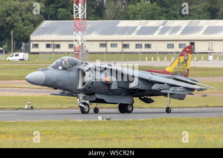 Spanish Navy EAV-8B Harrier II Plus on runway ready to lift off at the RIAT 2019 held at RAF Fairford. - Stock Photo