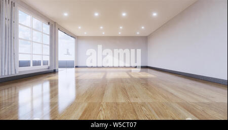 empty room interior with wooden floor on white wall background. 3D rendering - Stock Photo