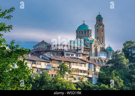 Patriarchal Cathedral of the Holy Ascension of God, Veliko Tarnovo, City of the Tsars, on the Yantra River, Bulgaria. It was the capital of the Second - Stock Photo
