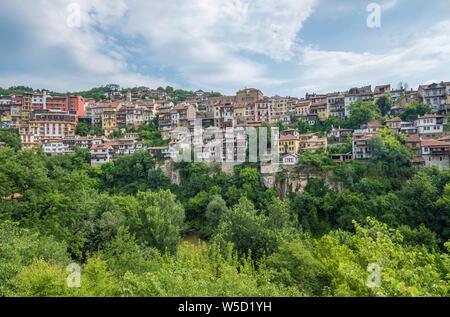 Veliko Tarnovo, City of the Tsars, on the Yantra River, Bulgaria. It was the capital of the Second Bulgarian Kingdom - Stock Photo