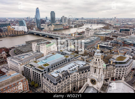 View South West from St. Paul's Cathedral Dome, London - Stock Photo