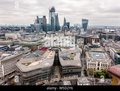 View  East from St. Paul's Cathedral Dome over the City of London - Stock Photo